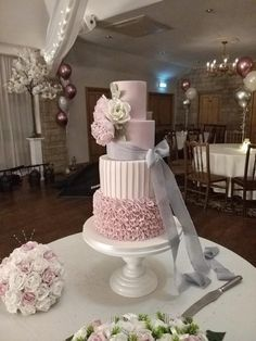Pink Wedding Cakes Dusky pink wedding cake by Jo - Blush Pink Wedding Cake, Dusky Pink Weddings, Fondant Wedding Cakes, Purple Wedding Cakes, Wedding Cake Rustic, Elegant Wedding Cakes, Beautiful Wedding Cakes, Wedding Cake Designs, Wedding Cake Toppers