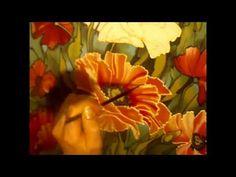 ▶ Poppy flower. Seidenmalerei von Svetlana Salitan. Silk art. Батик. Pintura en seda, ציור משי , 絹の絵画 - YouTube
