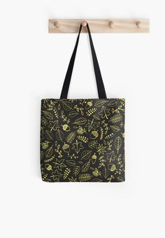 Gold Autumn Pattern Tote Bag by Anastasia Shemetova #faerieshop #gold #drawing #fall #autumn #berry #rowan #leaves #pattern #bright #golden #branch #gloss #blue #season #foliage #contour #acorns #maple #sycamore #birch #beech #oak #sketch #tree #line #nature #art #sale #redbubble #bag #accessories