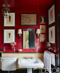 Red walls aren't easy to master, but they are certainly worth it. See some of the most stunning red rooms from our archives and get inspired to take the design leap. Ceiling Decor, Ceiling Design, Home Design, Design Ideas, Living Room Small, Red Bathroom Decor, Bathroom Furniture, Bathroom Accessories, Antique Furniture