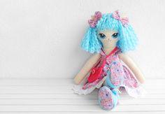 "Amélie - 40 cm (15.7"") OOAK Kitty art doll. Blue haired soft doll with pink dress.  #ragdoll #cat #handmade #children #room #nursery #decor #easter #gift"