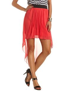 Pleated Hi-Low Chiffon Skirt: Charlotte Russe