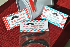 Valentine Treat Bag Toppers Mustache Design by LilyGirlPaper, $5.00