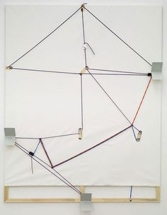 Henning BohlAntiquariat, 2008primed canvases, rope, rope cleats, metal bookends230 x 180.3 x 13.3cm