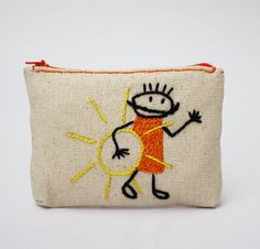 sun and baby boy coin purse hand embroidery on linen by NIARMENA
