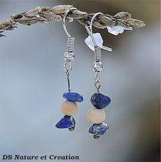 www.etsy.com/shop/DSNatureetCreation Lapis lazuli jewelry, hippie gypsy earrings, healing stone jewelry, natural lapis lazuli earrings natural stone earring gypsy hippie jewelry