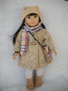 American Girl Doll Clothes - 10 piece Tweed Coat and Burberry like skirt outfit. $41.00, via Etsy.