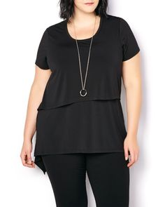 Shop Penningtons for stylish plus size clothes & trendy fashions: sizes 14 to 32 in tops, bottoms, jeans, lingerie, activewear & wide width shoes & boots. Trendy Plus Size Fashion, Stylish Plus, Plus Size Outfits, Trendy Outfits, Asymmetrical Design, Fashion Top, Night Looks, Black Pants, Night Out