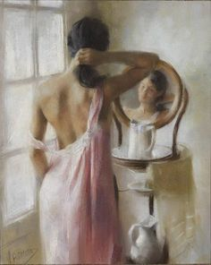 Vicente Romero Redondo Portraits, Portrait Art, Woman Painting, Figure Painting, Feminine Mystique, Spanish Artists, Mirror Art, Look In The Mirror, Texture Art