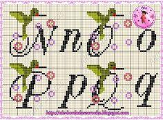 Alê - Bordados e Crochê: Monograma beija flor