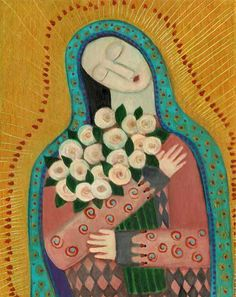 roses for the madonna. ...print.... rose walton... 5x7 on 8x10 archival paper