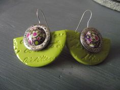 clay earrings - change top bead to black (maybe black and lime polka dot?)