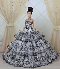 Fashion-Royalty-Princess-Party-Dress-Clothes-Gown-For-Barbie-Doll-E05