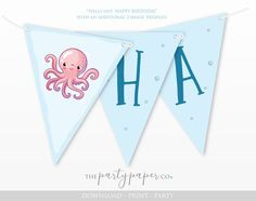 Under The Sea Party Decorations - Happy Birthday Bunting / Banner /Garland / Flags- INSTANT DOWNLOAD