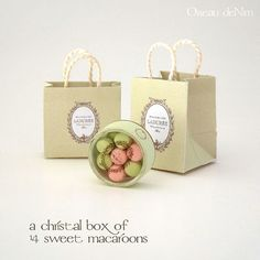 "Pair of Laduree shopping bags and box of 14 macarons (box = 2/3"") ~ by Peinen, French miniaturist -- her Etsy shop is called OiseaudeNim"
