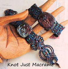 Micro Macrame bracelets in raku colors by Sherri Stokey of Knot Just Macrame