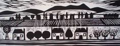 fields and buildings linocut