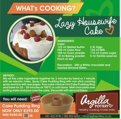 Vanilla Essence, Cake Ingredients, What To Cook, Melted Butter, White Chocolate, Cookware, Almond, Roast, Pottery