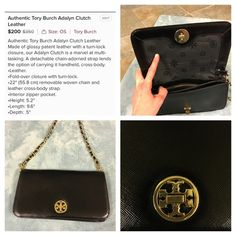 Tory butch black clutch I bought this from a fellow posher. It's like new condition. It was new with tag when I purchased it. I used it once. The seller states it's authentic. The gold logo has a tiny discoloration that's hardly noticeable Tory Burch Bags Clutches & Wristlets