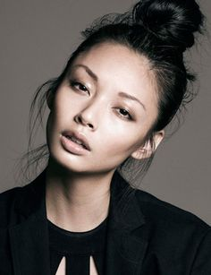 alice ma | canada next models | smokey eye look on a fresh face | freckled face | high top-of-the-head bun | pouty lips in pale pink | deep cheek bones