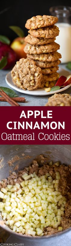 Apple Cinnamon Oatmeal Cookes - A delicious, soft cake-like cookie filled with oats, loaded with tiny chunks of apples and swirled with plenty of cinnamon. The perfect cookie to make on fall weekends! via Jaclyn {Cooking Classy} Apple Recipes, Fall Recipes, Sweet Recipes, Baking Recipes, Dessert Recipes, Snacks Recipes, Cookie Desserts, Apple Cinnamon Oatmeal, Cinnamon Apples
