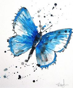 Blue Butterfly Watercolor Painting / Watercolor Splash Tattoo Art Idea.  This would be beautiful in any color!  Tatuaje mariposa acuarela.