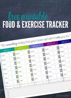 Make this the day you start living a healthier lifestyle. Track your food, exercise, water intake, weight, and measurements to make sure you're on the right track for fitness. Free printable food and exercise tracker.