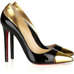 Christian Louboutin Duvette 120 metallic and patent-leather pumps ($605) ❤ liked on Polyvore featuring shoes, pumps, heels, christian louboutin, sapatos, high heels, black, black slip-on shoes, pointy toe pumps and black pointy toe pumps
