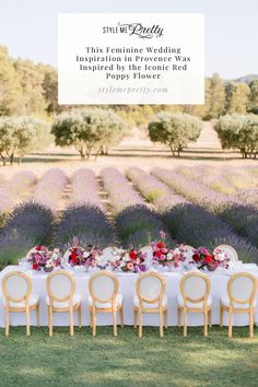 Fun fact about today's editorial: the inspiration for the shoot came from the fragrance 'Flower by Kenzo.' Head to SMP for all the pretty details! LBB Photography: @remidupac #stylemepretty #provencewedding #lavenderfields #poppyflower #flowerinspiration #prettywedding #weddinginspo Wedding Table Settings, Wedding Reception Decorations, Wedding Centerpieces, Provence Lavender, Provence Wedding, Provence Garden, Field Wedding, Wedding Events, Weddings