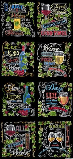 """Vineyard - Chalkboard Wine Tour - 24"""" x 44"""" PANEL - Quilt Fabrics from www.eQuilter.com"""
