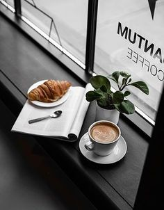 croissants and coffee an trendy coffee shop food photography, drink/ coffee photography