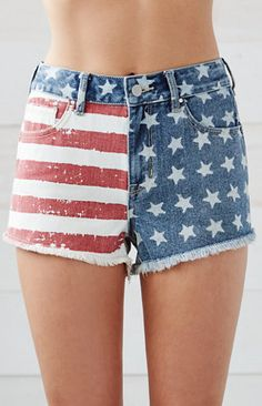American Flag High Rise Cutoff Denim Shorts