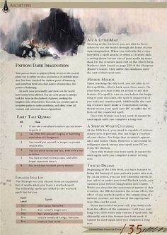 DnD Homebrew — Dark Imagination Patron Warlock by StriderT Warlock Class, Warlock Dnd, Warlock Spells 5e, Dungeons And Dragons Classes, Dungeons And Dragons Homebrew, Dnd Characters, Fantasy Characters, Dnd Classes, Science Fiction