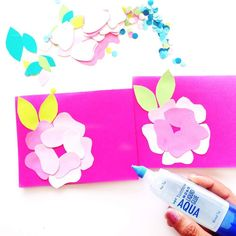 Easy paper flower cards in 5 easy steps with Flower Cards, Paper Flowers, Tombow, Card Making Inspiration, Summer Diy, Custom Cards, Paper Crafting, Diy Art, Make Your Own