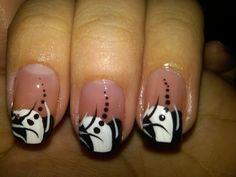 white nail art designs | Black And White Nail Paint Designs