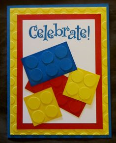 Items similar to Handmade Rubber Stamping Birthday Lego Card - Brights or Pastels - Finished Card with Envelope on Etsy Lego Birthday Cards, Birthday Card Sayings, Birthday Cards For Boys, Birthday Kids, Husband Birthday, Boy Cards, Kids Cards, Cute Cards, Lego Card