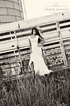 country wedding pose.... great and creative and all... I can'thelp but think about my own family's trailer and how it usually had cow crap down the side... I'm just saying...