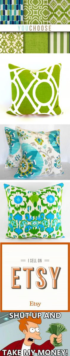 Which green design is your favorite? #green #decor #humor #longpin #pillow