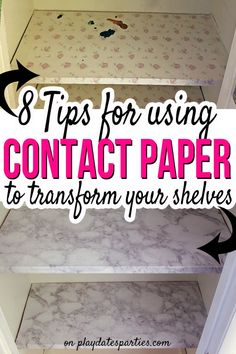 8 Tips for Using Contact Paper for Shelves Transform your ugly old shelves from dingy to dreamy. Keep reading for the best tips to use contact paper f Kitchen Shelf Liner, Kitchen Cabinet Shelves, Pantry Shelving, Closet Shelves, Contact Paper Kitchen Cabinets, Inside Kitchen Cabinets, Kitchen Stuff, Lining Cabinets, Cabinet Liner
