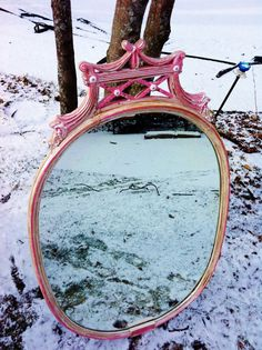 Ballerina Pink Vintage Crystal Mirror by antique2chic on Etsy, $125.00