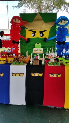 Lego Ninjago, Ninja Birthday Party Ideas is part of Party Clothes Ideas - Lego Ninjago, Ninja Photo Gallery at Catch My Party Lego Ninjago, Ninjago Party, Lego Lego, Lego Batman, Ninja Birthday Parties, Birthday Party Themes, Boy Birthday, Birthday Ideas, Lego Parties