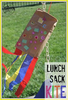 The grass is greener, the flowers are beginning to bloom and kids can be heard playing outside.  It's spring and with spring comes wind.  So, instead of wishing the wind away, we made lunch sack kites to fly in the wind!  These kites were perfect for my 2 and 3 year olds.  Plus I had all the materials on hand! Materials Needed: -Brown paper sack
