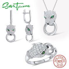Trang sức Phụ Kiện Nữ Leopard Đá Quý Đá Spinel CZ Diamond Ring Bông Tai Mặt Dây Chuyền Set 925 Sterling Silver Bạc Trang Sức Bộ