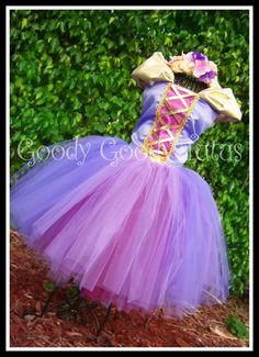 TANGLED IN TULLE Rapunzel Inspired Tutu with Corseted Top and Floral Braided Headband  By: Goody Goody Tutus on Etsy