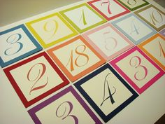 Wedding Table Number Layered in Colors to Coordinate Home Wedding, Wedding Events, Wedding Reception, Wedding Day, Wedding Stuff, Weddings, Diy Wedding Projects, Diy Projects, Candy Party