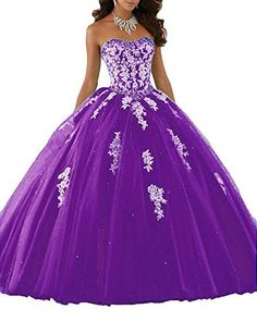 c0e4a8decf Eldecey Women s Lace Applique Sweet Sixteen Girl Birthday Party Backless  Long Tulle Quinceanera Dress Dark Purple US16W