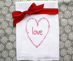 Valentine's Love Tea Towel Printed in Red and Green by AppleWhite, $10.00