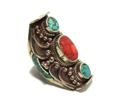 Turquoise Hand Inlaid Nepali Tibetan Coctail Ring, Ethnic Nepalese Ring, Tibetan Jewelry, Tibetan Silver, Hippie, Festival, Boho Gypsy Ring