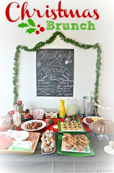 Christmas Brunch....faux chalkboard & raspberry liquor cake