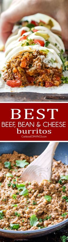 Quick, easy, comforting, inexpensive Beef, Cheese and Bean Burritos stuffed with the BEST FILLING you will be eating with a spoon! This is classified as one of the best and easiest recipes for homemade burritos Mexican Dishes, Mexican Food Recipes, Dinner Recipes, Ethnic Recipes, Wrap Recipes, Kabob Recipes, Fondue Recipes, Pasta Recipes, Recipies